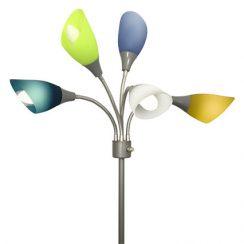 Light Accents Medusa Silver Floor Lamp with Multicolor Acrylic Shades