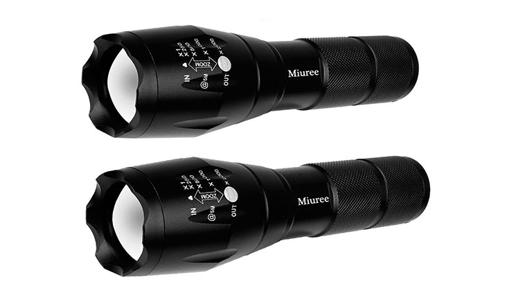 Miuree 2Pcs Tactical Flashlight Water Resistant Military Grade Tac Light with 5 Modes & Zoom Function Ultra Bright Torch