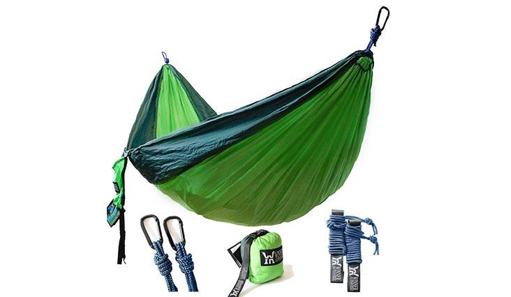 Winner Outfitters Double Camping Hammock, Dark green & green