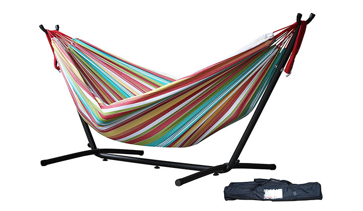 Vivere Double Hammock with Space Saving Steel Stand, Carousel Confetti
