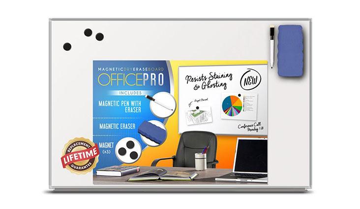 OfficePro Slimline 24x36-Inch Magnetic Dry Erase Board with Marker Pen, Pen Holder Tray, Magnetic Eraser and 3 Magnets