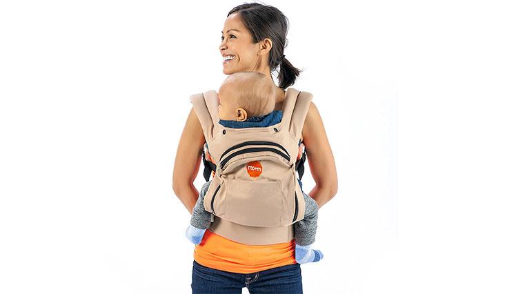 Mo+m Ergonomic Baby Sling Carrier w/ Mesh Cooling Vent, Hood & Pockets (Desert Tan)