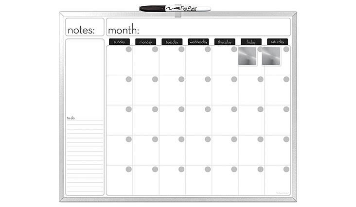 The Board Dudes 16X20-Inches Aluminum Framed Magnetic Dry-Erase Calendar