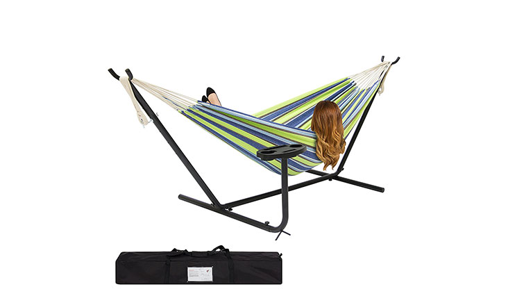 Best ChoiceProducts Double Hammock, Blue Green Stripe
