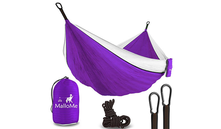 XL Double Parachute Camping Hammock, purple white