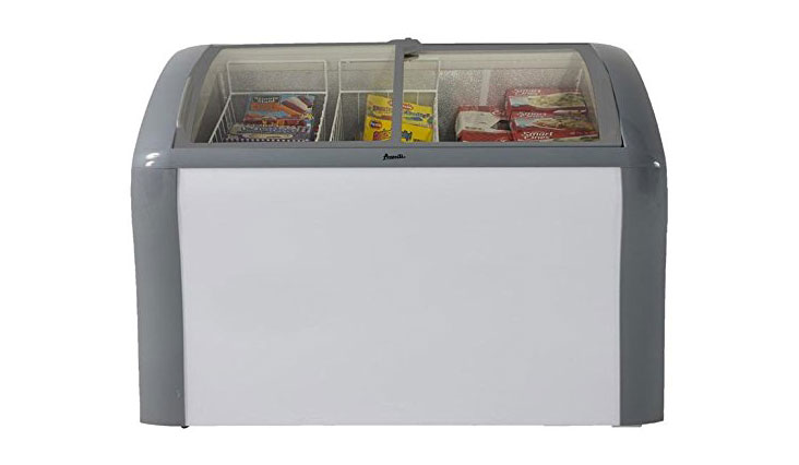 """Avanti CFC83Q0WG 41"""" Commercial Convertible Freezer/Refrigerator with 9.3 cu. ft. Capacity, Glass Top Display, 2 Removable Storage Baskets, Adjustable Thermostat, Lock, and Rollers: White"""