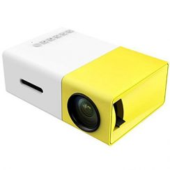 DeepLee A1 DP300 Mini Portable LED Projector with Laptop USB/SD/AV/HDMI Input for Video/Movie/Game/Home Theater-Yellow