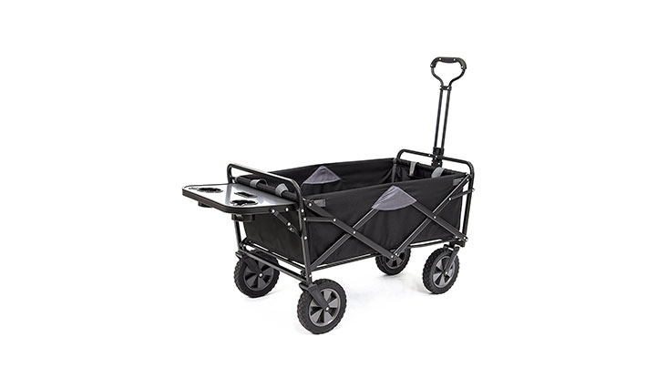 Mac Sports Collapsible Folding Outdoor Utility Wagon (Wagon with Side Table, Black)