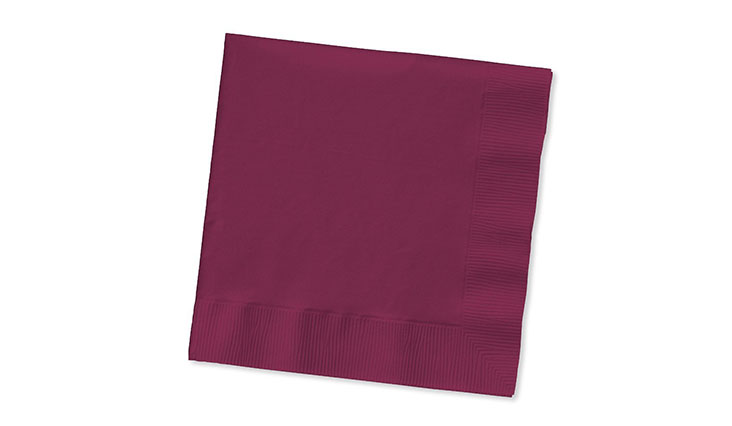 Creative Converting Touch of Color 200 Count 2-Ply Paper Beverage Napkins, Burgundy