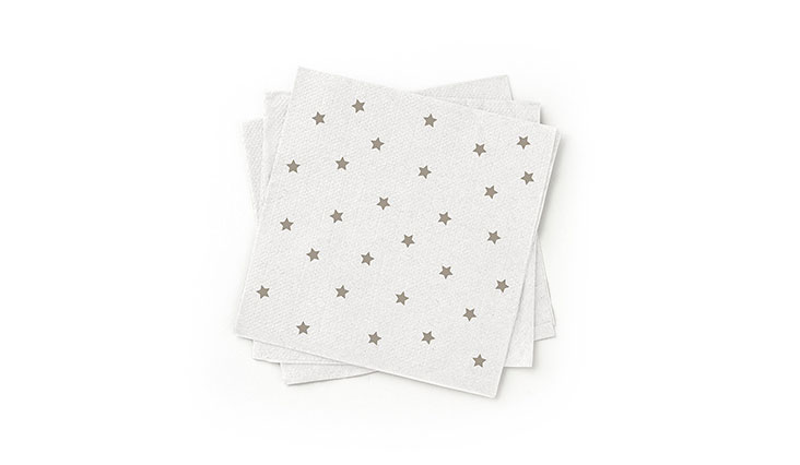 100% Recycled Paper Cocktail Napkin Grey, pack of 200