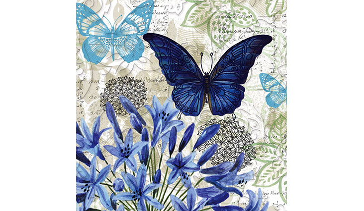 "Cypress Home Blue Floral Study Embossed Paper Cocktail Napkin, 20 count - 5""L x 5""H"