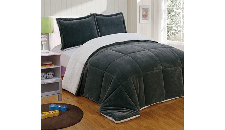 8d86478ad128 Chezmoi Collection 3-piece Micromink Sherpa Reversible Down Alternative  Comforter Set (Queen