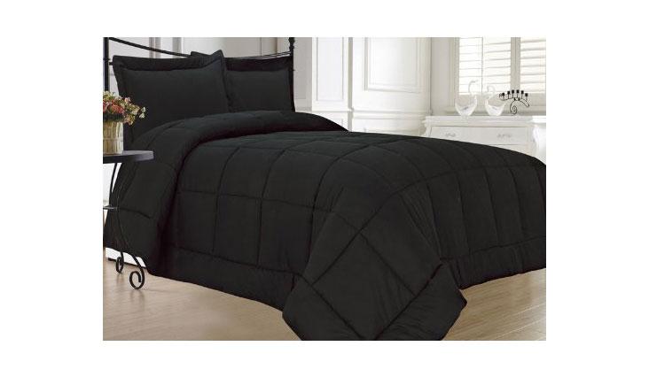 KingLinen Down Alternative 3 Pcs Comforter Set, Queen, Black