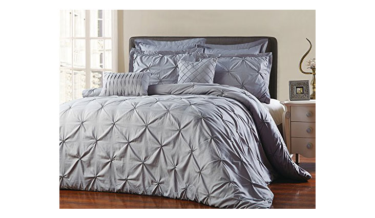 Unique Home 8 Piece Reversible Pinch Pleat Comforter Set Fade Resistant, Wrinkle Free, No Ironing Necessary, Super Soft, Cal King, Grey