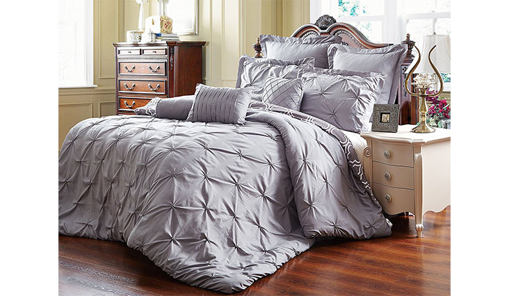 Unique Home 8 Piece Reversible Pinch Pleat Comforter Set Fade Resistant, Wrinkle Free, No Ironing Necessary, Super Soft, King, Grey