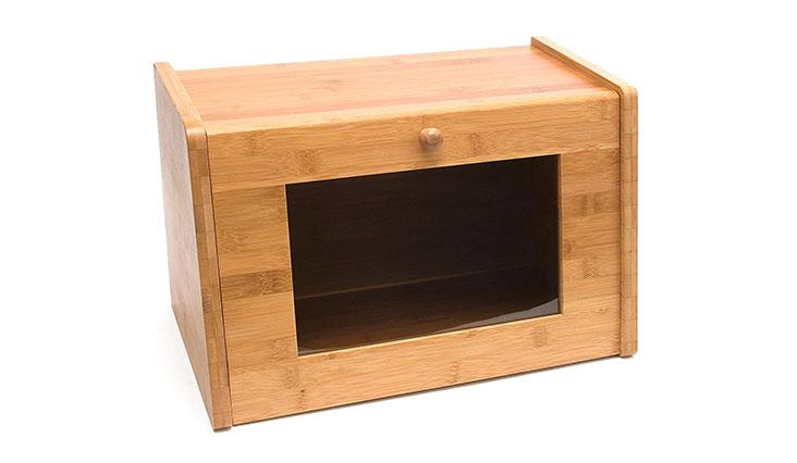 "Lipper International 8847 Bamboo Wood Bread Box with Tempered Glass Window, 15-1/2"" x 9-1/2"" x 9-3/4"""