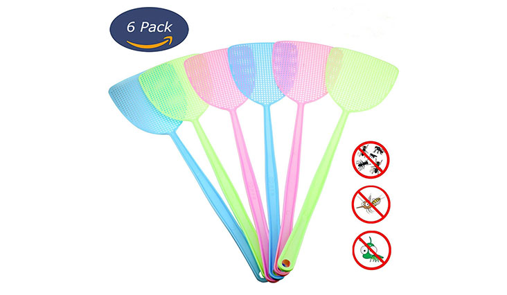 6 Pack Fly Swatter Manual Swat Pest Control Plastic with Long Handle Assorted Sweet Colors