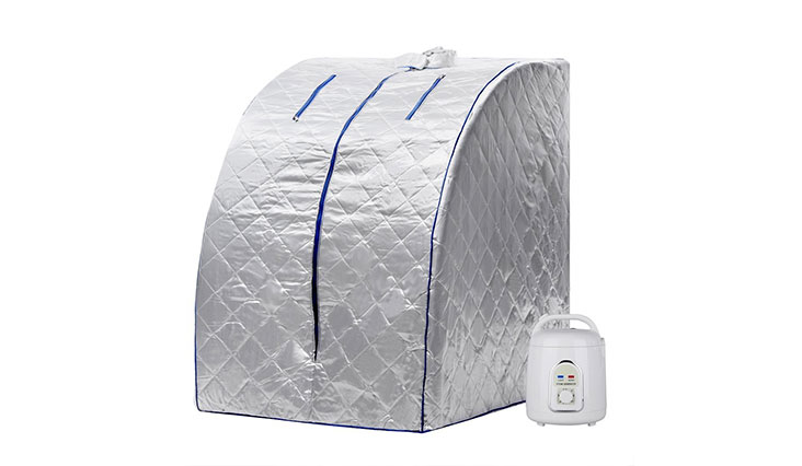FDegage Portable Steam Sauna Room Infrared Personal Silver Sauna Box Valentine's Day Gift Therapeutic SPA Detox Body Weight Loss (Silver)
