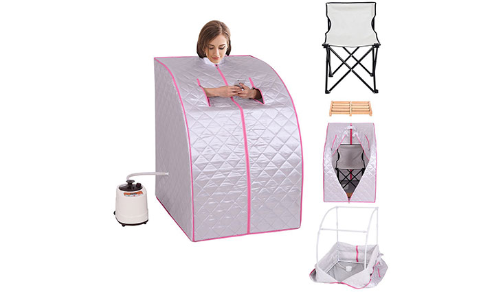 Giantex Portable 2L Steam Sauna Spa Full Body Slimming Loss Weight Detox Therapy w/Chair (Silver)