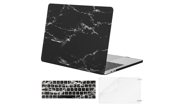Mosiso MacBook Pro 13 Case 2017 & 2016 Release A1706 / A1708, Plastic Pattern Hard Case Shell with Keyboard Cover with Screen Protector for Newest MacBook Pro 13 Inch, Black Marble