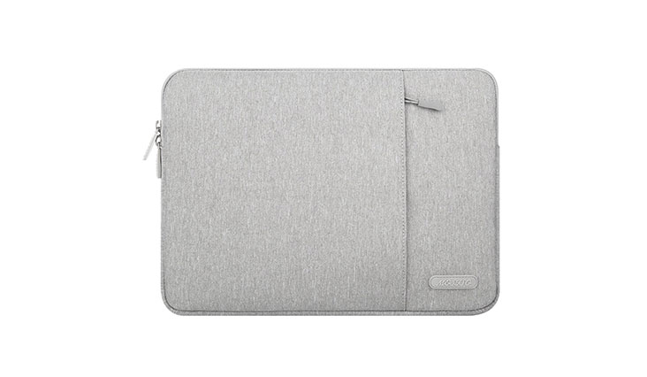 Mosiso Polyester Vertical Style Water Repellent Laptop Sleeve Case Bag Cover with Pocket for 13-13.3 Inch MacBook Pro, MacBook Air, Notebook, Gray