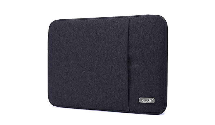 """Lacdo 13 Inch Waterproof Fabric Laptop Sleeve Case for Apple Macbook Air 13"""" / MacBook Pro 13.3-Inch Retina 2012-2015 / 12.9 ipad Pro, HP Asus Dell Acer Chromebook Ultrabook Notebook Tablet Bag, Black"""