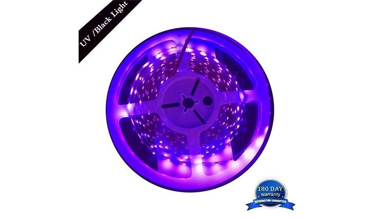 AMARS 5M/16.4ft 3528 SMD Blacklight UV/Ultraviolet 395nm-405nm LED Light Strip Fixtures DC 12V 60leds/m 300 LED Purple Light Bulb Lighting
