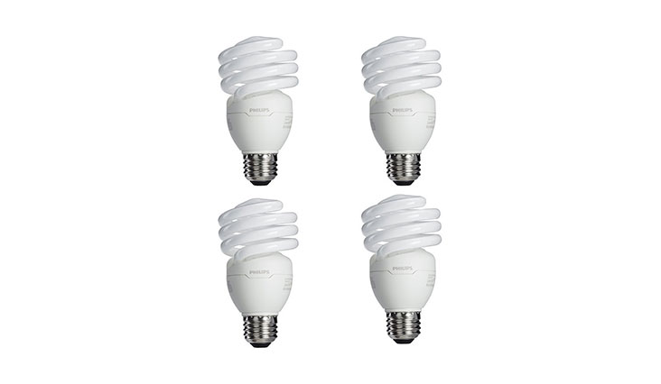 Philips 433557 100-watt Equivalent, Bright White (6500K) 23 Watt Spiral CFL Light Bulb, 4-Pack