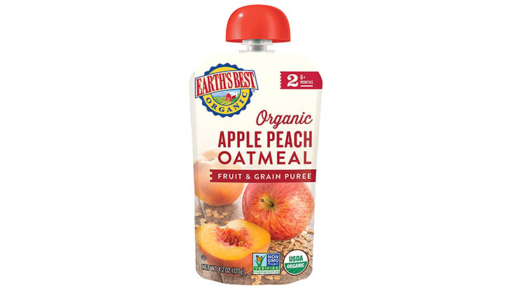 Earth's Best Organic Stage 2, Apple, Peach, Oatmeal,Fruit and grain 4.2 Ounce Pouch (Pack of 12) (Packaging May Vary)