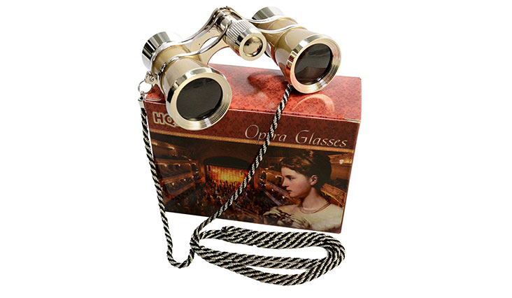3 x 25 Opera Glasses Platinum with Crystal Clear Optic (CCO) and Silver Trim w/ Necklace Chain by HQRP