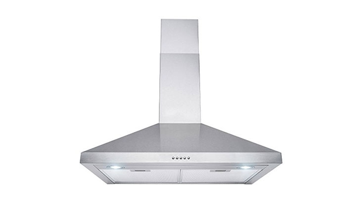 Perfetto Kitchen and Bath 30″ Wall Mount Stainless Steel Push Panel Kitchen Range Hood Cooking Fan