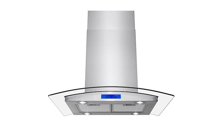 "FIREBIRD 30"" Stainless Steel Tempered Glass LED Display Touch Control Panel Island Mount Kitchen Vent Cooking Fan Range Hood"