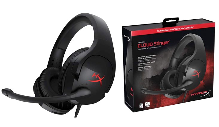 HyperX Cloud Stinger Gaming Headset - Lightweight Design - Flip to Mute Mic - Memory Foam Ear Pads - Built in Volume Controls - Works with PC, PS4, PS4 PRO, Xbox One, Xbox One S (HX-HSCS-BK/NA)