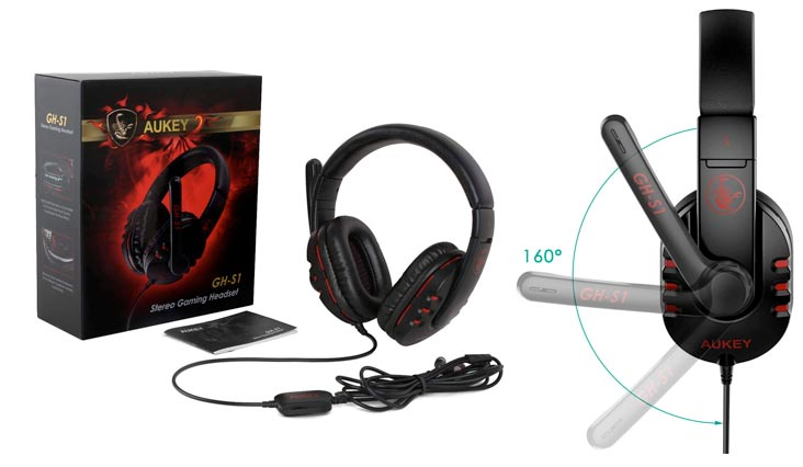 Gaming Headset, 3.5mm Over-ear Stereo Headphones with Microphone and In-line Volume Control for Mac and PCs