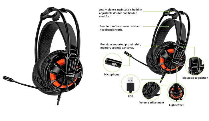 Surround Sound Gaming Headphone with Microphone for PC/ Desktop