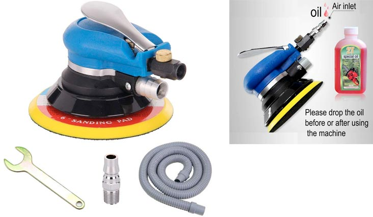 "6"" Air Random Orbital Sander, Dual Action Pneumatic Orbit Polisher Pro Grinding Sanding Tools with Vacuuming(Needed Air Compressor)"