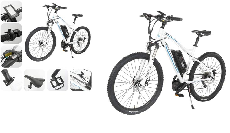Onway 26 Inch 9 Speed Electric Mountain Bike, 8-Fun 350W Brushless Mid-position Motor, Lithium Battery, White