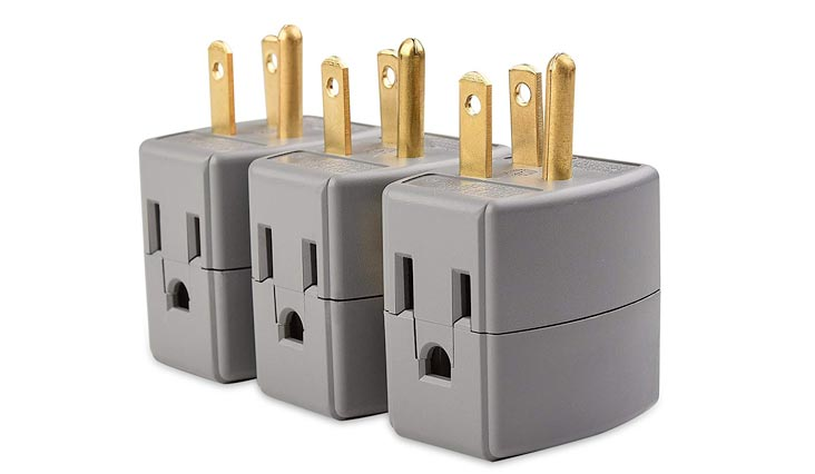 3-Outlet Grounded Cube Wall Tap