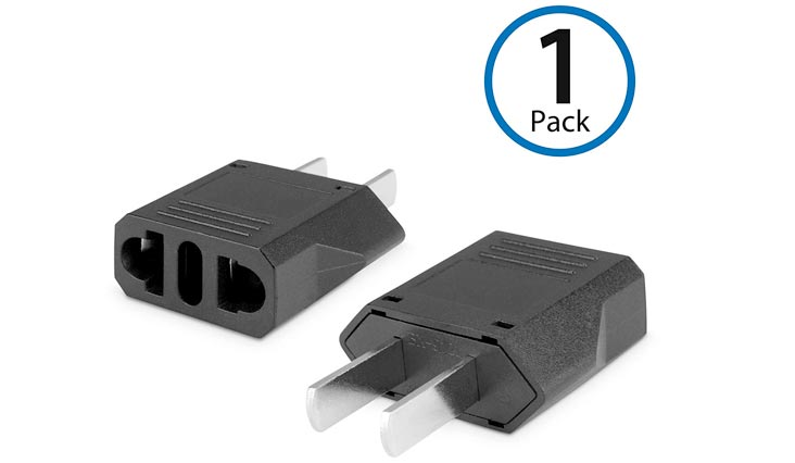 European to American Outlet Plug Adapter,Black,Euro to US Adapter - Type B