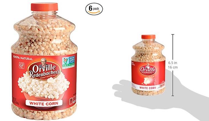 Orville Redenbacher's Gourmet Popcorn Kernels, White Corn, 30 oz Each (Pack of 6)