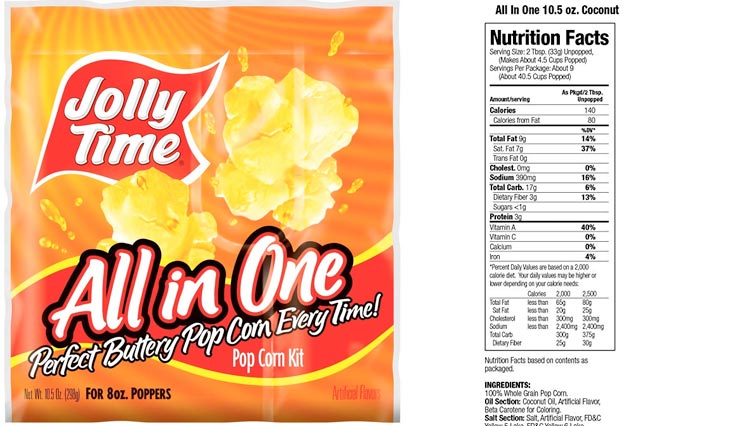 Jolly Time All-in-One Popcorn Kernel, Oil & Salt Portion Kits, 10.5 Ounce, for 8 Ounce Poppers (Pack of 36)