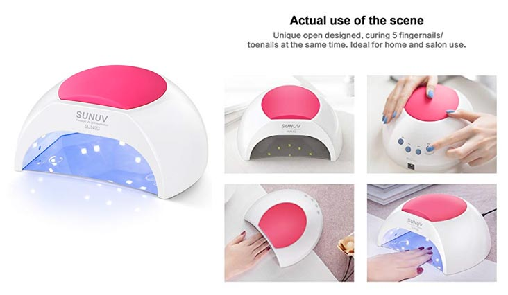 SUN2C 48W LED UV nail Lamp with 4 Timer Setting,Senor For Gel Nails and Toe Nail Curing