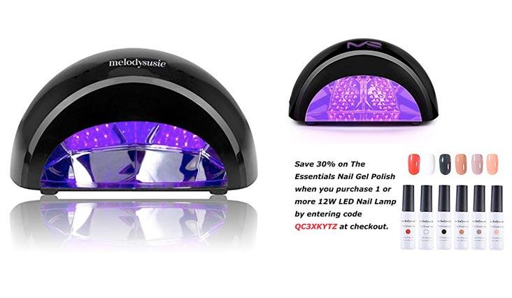 12W LED Nail Dryer - Nail Lamp Curing LED Gel Nail Polish, Professional for Nail Art at Home and Salon - Black