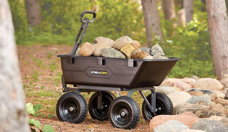 Heavy-Duty Poly Yard Dump Cart with 2-In-1 Convertible Handle, 1,200-Pound Capacity, Black