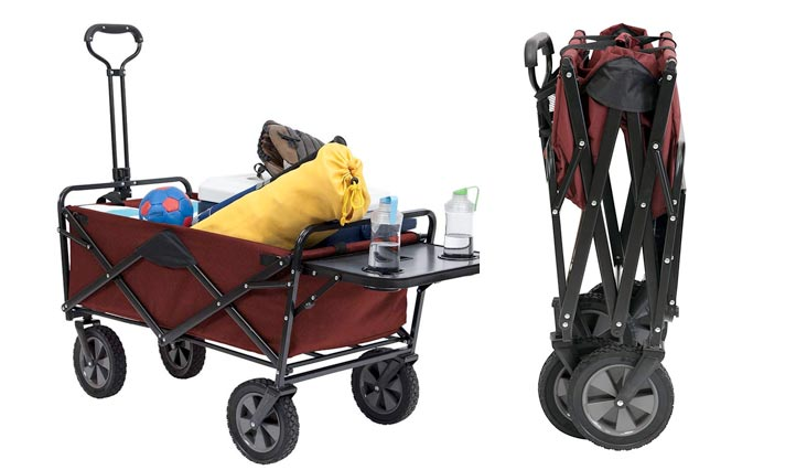 Collapsible Outdoor Utility Wagon with Folding Table and Drink Holders, Maroon