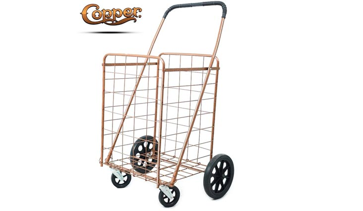 Premium Metallic Copper Folding Shopping Cart 150 lb Capacity, w/Spinning Wheels, Grocery Shopping Made Easy Utility Cart 2 Choice (Single Basket) - Trendy Copper Shop in Style