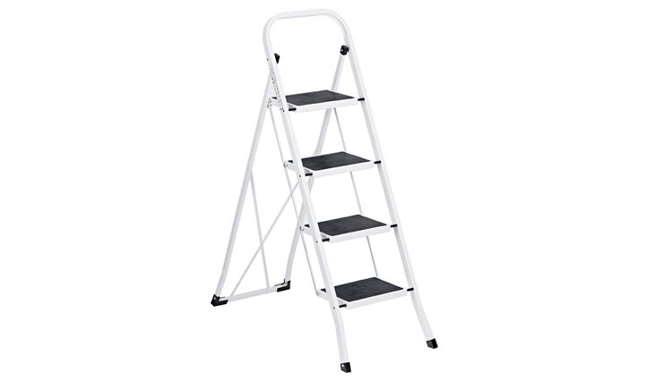 Folding 4 Step Ladders, Ladder With Convenient Handgrip Anti-Slip Sturdy and Wide Pedal 330lbs Portable Steel Step Stool White and Black 4-Feet