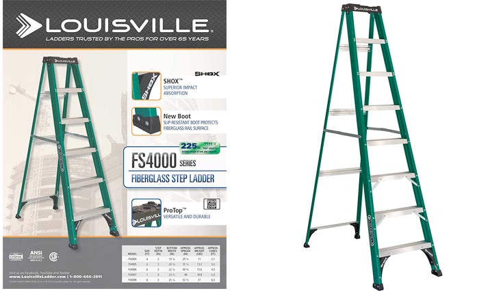 Louisville Ladder FS4008, Fiberglass Step Ladder, 225-Pound Capacity, 8-Foot