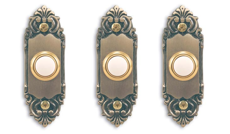Wired Door Chime Push Button, Antique Brass with Lighted Center