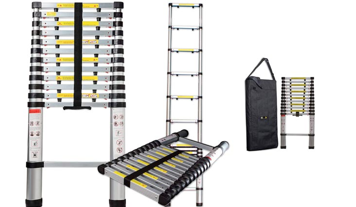 Feet Aluminum Telescopic Extension Ladder - EN131 Certified - Extendable with Spring Load Locking Mechanism Non-Slip - 330 lb Max Capacity